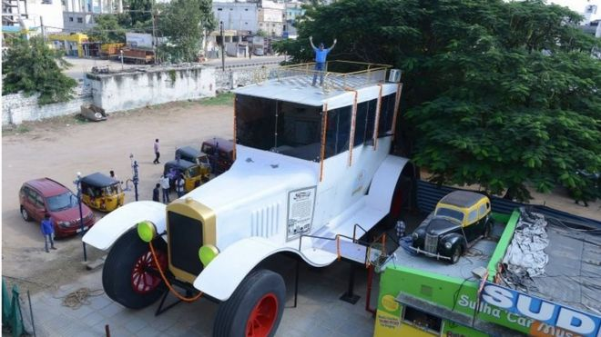 india man eyes record with 26 foot high car bbc news