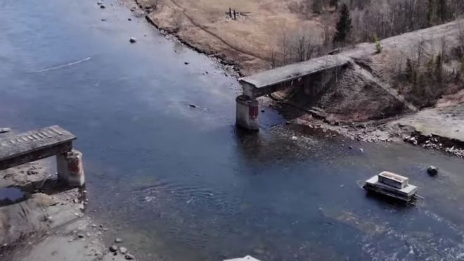 A bridge dismantled by suspected metal thieves in Russia's Murmansk Region