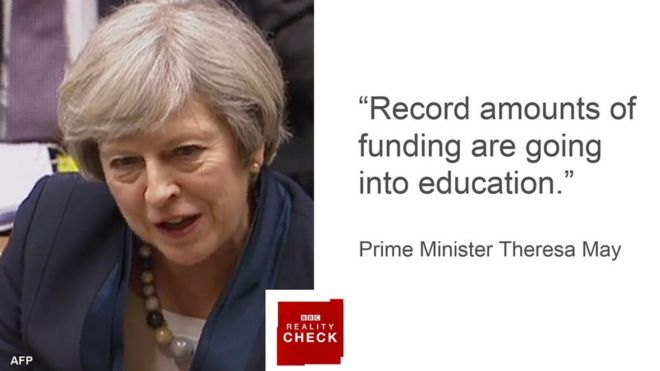 """""""Record amounts of funding are going into education."""" - Prime Minister Theresa May"""