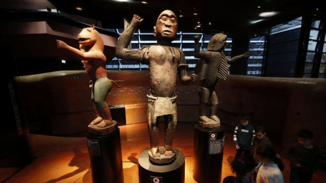 Three Great Royal Statues of ancient Dahomey (currently Benin, West Africa) are displayed at the Quai Branly Museum-Jacques Chirac in Paris