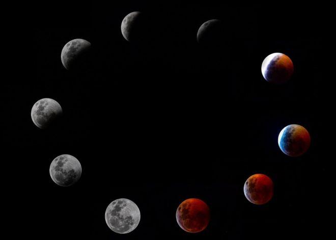 Сложная фотография показывает все фазы так называемого полного лунного затмения Луны Супер Крови Волка в воскресенье 20 января 2019 года в Панама-Сити.