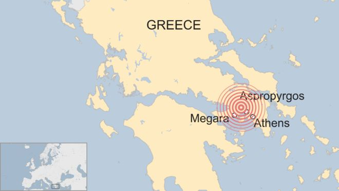 A map of Athens earthquake