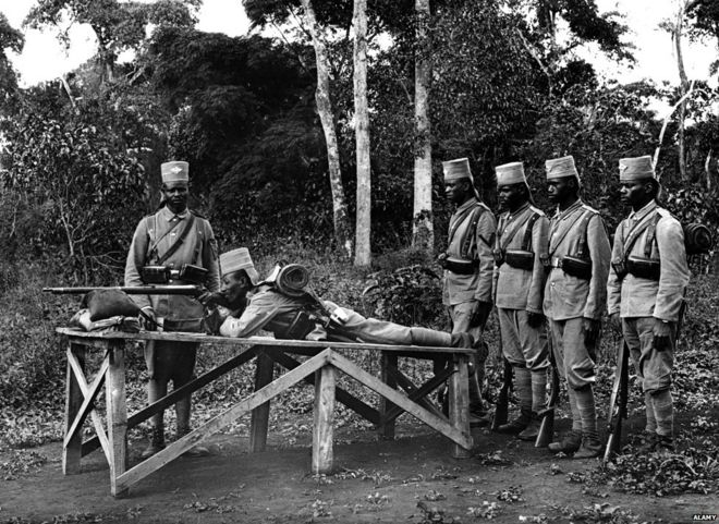 The African Soldiers Dragged Into Europes War  Bbc News Askaris Practice Shooting World War I Tanzania
