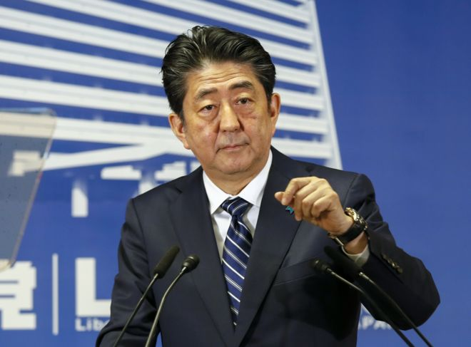 قول آبه برای برخورد با کره شمالی پس از پیروزی قاطع در انتخابات