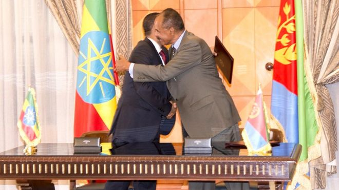 Leaders of Ethiopia and Eritrea embrace