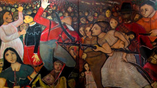 painel da artista Tereza Costa Rêgo sobre a batalha de Tejucupapo
