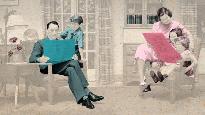 Ilustração de um pai lendo o jornal para o filho, e de uma mãe lendo para suas filhas