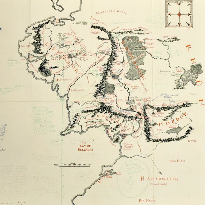 JRR Tolkien's annotated Middle earth map on show at Bodleian   BBC