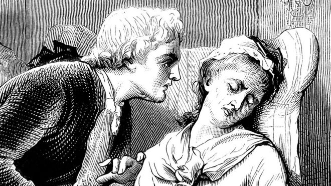 Ilustração de uma mulher desmaiada em uma poltrona, sendo observada de perto por um homem