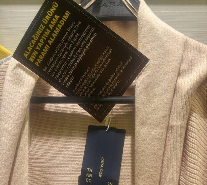 Turkey: Zara shoppers find labour complaints inside clothes