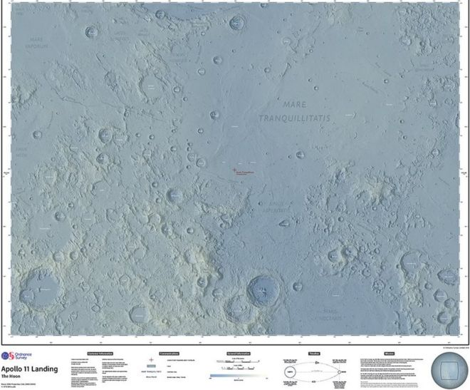 Moon landing marked by new Ordnance Survey map - BBC News on ganymede map, neptune map, titan map, surreal map, pluto map, saturn map, sun map, earth map, neil armstrong, lunar cycle map, blue moon, jupiter map, uranus map, outland map, star map, mercury map, io map, statue map, the ship map, solar system, microscope map, mars map, black hole map,