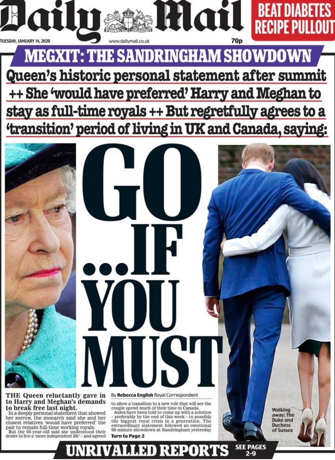 Daily Mail front page 14 January