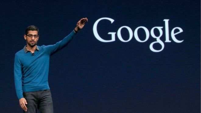 Google senior vice president of product Sundar Pichai delivers address during 2015 confernce