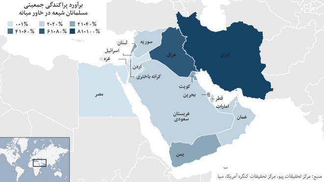 پراکندگی جمعیتی مسلمانان شیعه در خاور میانه