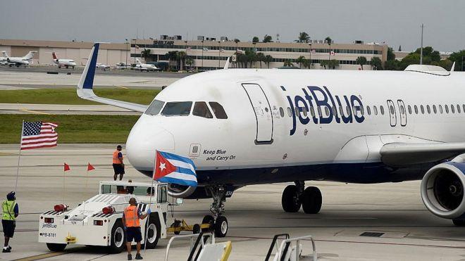 Wiederaufnahme kommerziellen US-Flüge nach Kuba im August 2016 durch JetBlue | Bildquelle: https://www.bbc.com/news/world-us-canada-53773425 © AFP | Bilder sind in der Regel urheberrechtlich geschützt