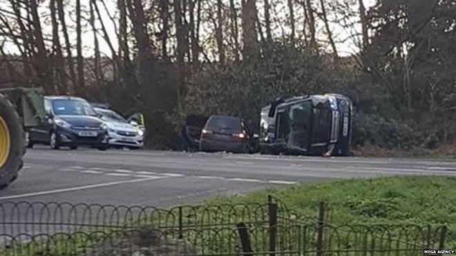 Prince Philip Unhurt in Crash While Driving _105230590_caraccidentklfm96.7jpg