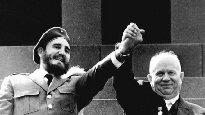 苏联领导人赫鲁晓夫和古巴领导人卡斯特罗