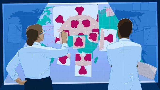 Ilustración de científicos armando un rompecabezas del coronavirus.