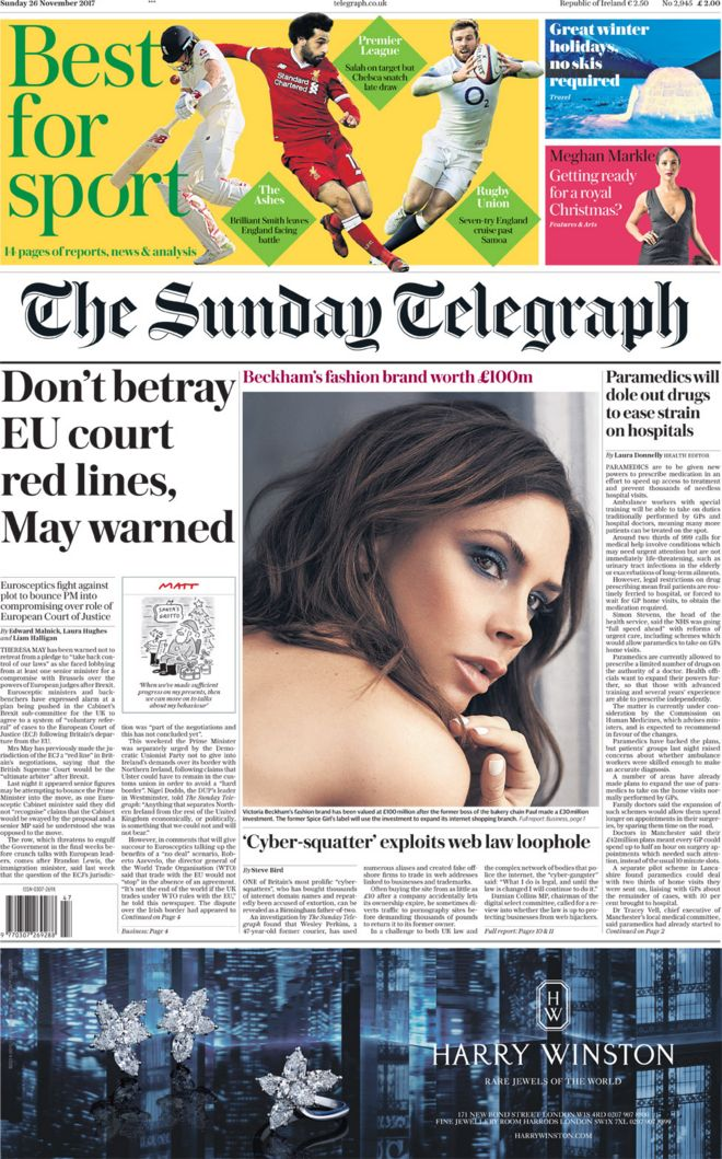 The Sunday Telegraph front page