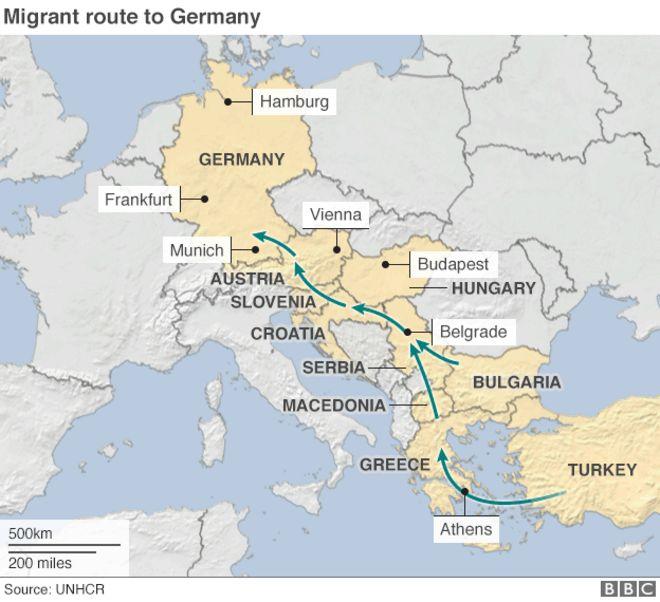 Карта маршрута мигрантов в Германию