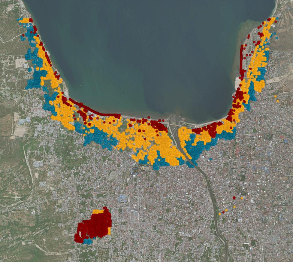 Mapa de Palu con los edificios destruidos o dañados en Palu, Indoneia