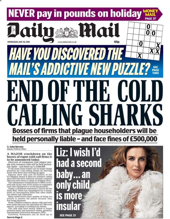 Daily Mail front page - 30/05/18