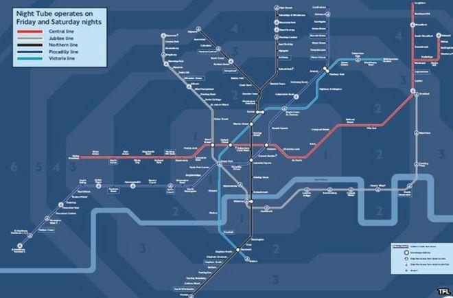 Bbc Tube Map Finalised London night time Tube map revealed   BBC News Bbc Tube Map