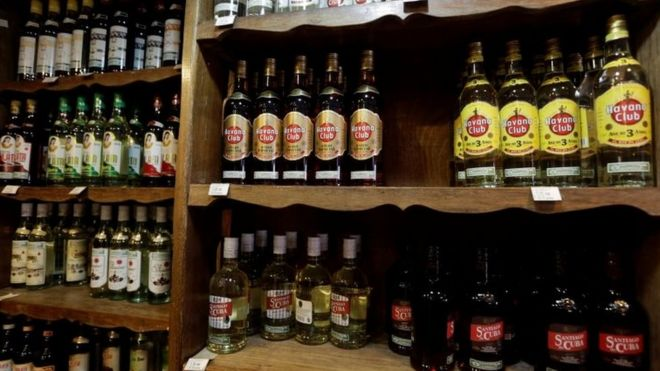 Bottles of Cuban rum in a shop in Havana. Photo: October 2016