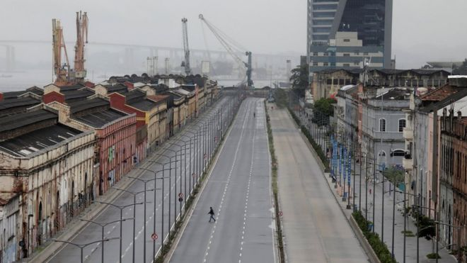 An empty street in Rio de Janeiro after demonstrators blocked traffic