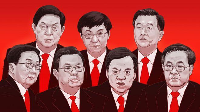 由左至右:韩正、栗战书、赵乐际、王沪宁、陈敏尔、汪洋、胡春华