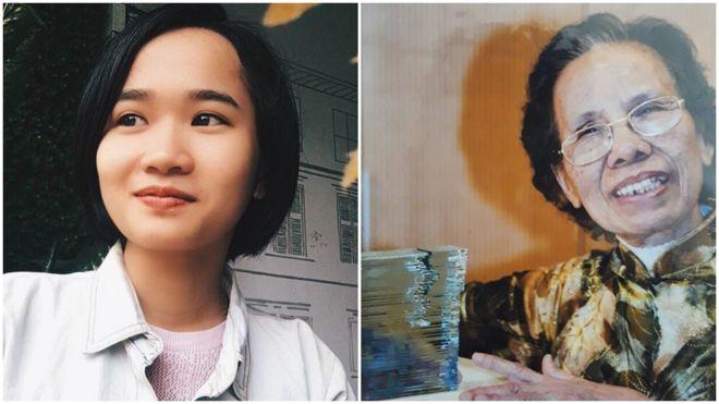 Nhà báo độc lập Cát Linh (trái) và nhà giáo hưu trí chống tham nhũng cụ Lê Hiền Đức