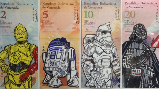 Los provocadores dibujos en los billetes que denuncian la devaluación del bolívar en Venezuela