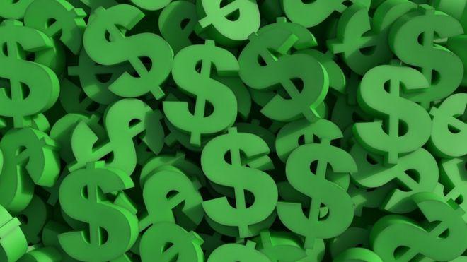 Signos de dólar de color verde