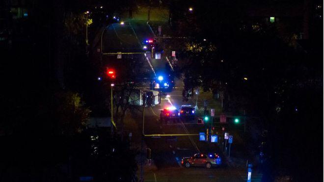 Aerial image of cordoned off scene where van overturned on Jasper avenue