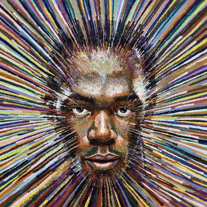 Usain Bolt inmortalizado por el artista callejero James Cochran en 2012.
