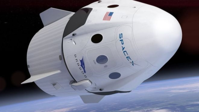 An artist's concept of Spacex Crew Dragon