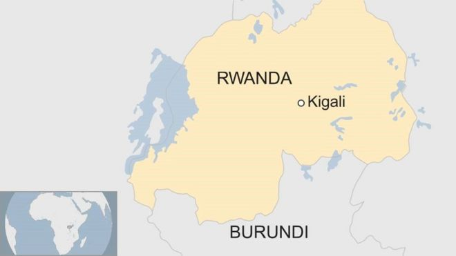 map showing Rwanda and Burundi with the former's capital Kigali marked out.