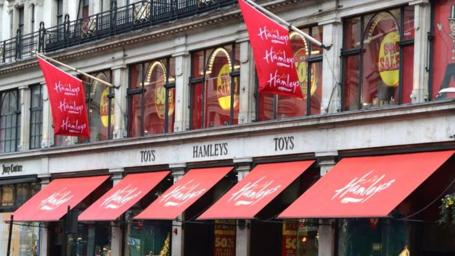 Hamleys store and brand logo seen in London