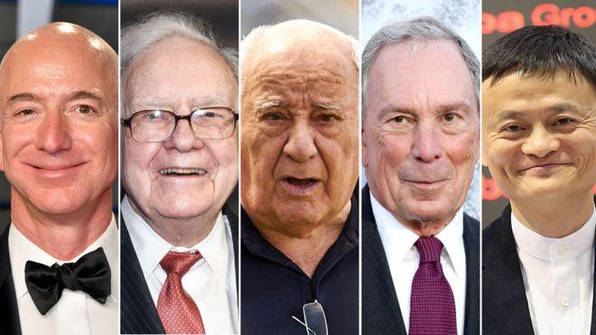 Composición Bezos, Buffett, Ortega, Bloomberg, Ma.