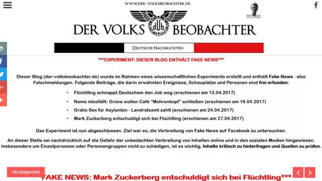Зараз на сайті, який створили німецькі дослідники, висить помітний червоний банер, який попереджає про фейкові новини