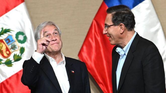 Los presidentes de Chile, Sebastián Piñera, y Perú, Martín Vizcarra