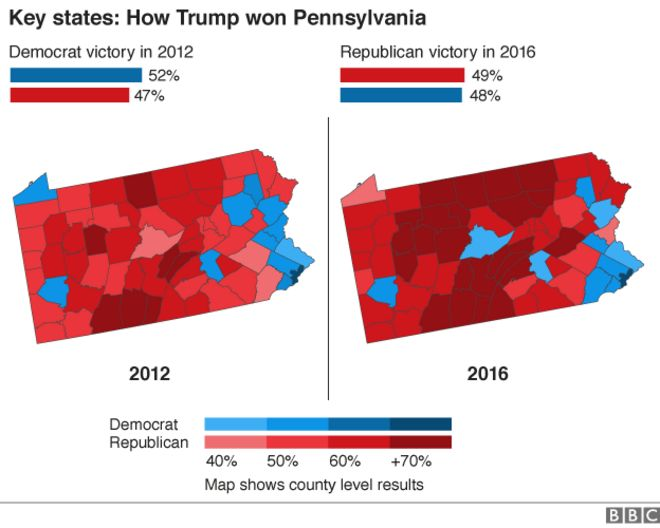 the previous six presidential elections pennsylvania result maps