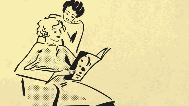 Ilustração com estilo retrô mostra mulher sentada lendo revista e outra mexendo em seu cabelo
