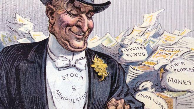 """Ilustración de un hombre que lleva una inscripción en el pecho en la que se lee """"manipulación de acciones""""."""