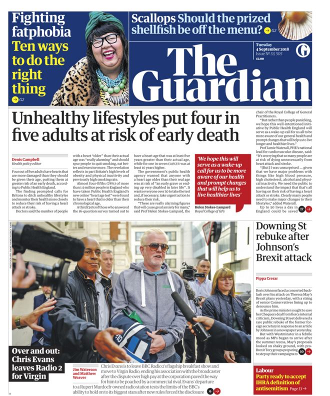 Guardian front page - 04/09/18