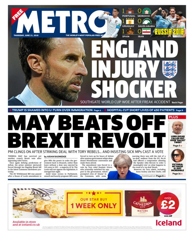 Metro front page - 21/06/18