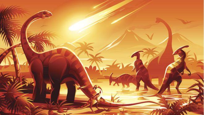 Ilustração de dinossauros sob uma chuva de meteoritos