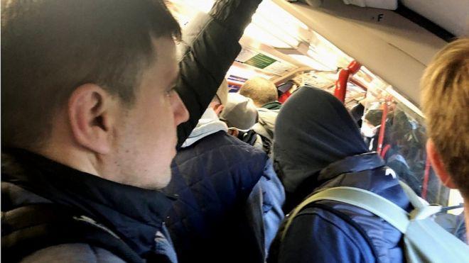 Crowded train at Leytonstone