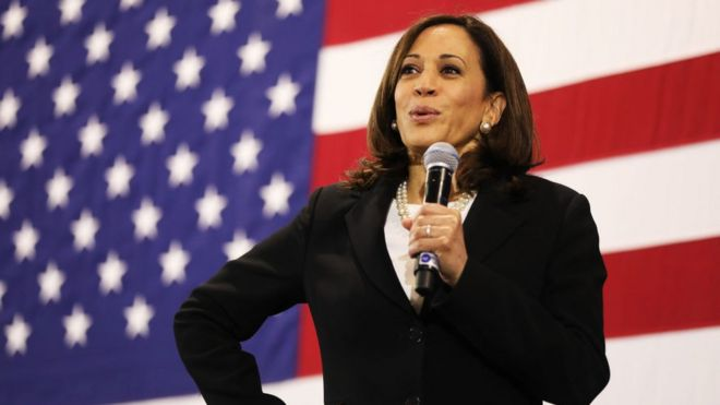 US Senator Kamala Harris speaks at a campaign stop on May 15, 2019 in Nashua, New Hampshire