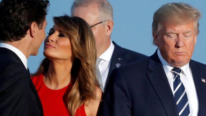 Trudeau, Melania Trump y Donald Trump